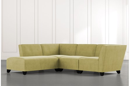 Benton II Green 4 Piece Sectional with Left Arm Facing Bumper Chaise