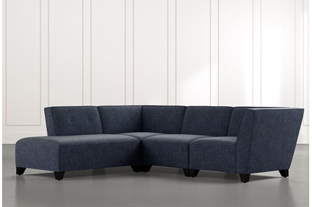 Benton II Navy Blue 4 Piece Sectional with Left Arm Facing Bumper Chaise