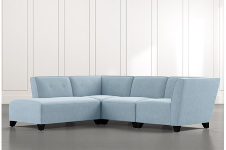 Benton II Light Blue 4 Piece Sectional with Left Arm Facing Bumper Chaise