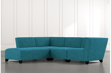 Benton II Teal 4 Piece Sectional with Left Arm Facing Bumper Chaise