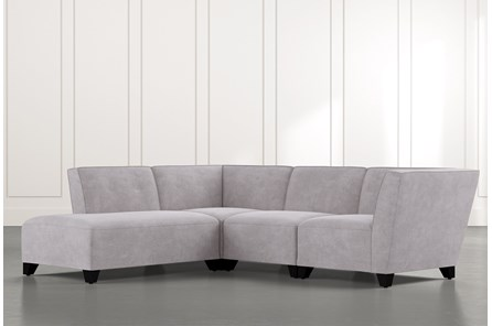 Benton II Light Grey 4 Piece Sectional with Left Arm Facing Bumper Chaise