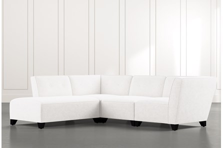Benton II White 4 Piece Sectional with Left Arm Facing Bumper Chaise
