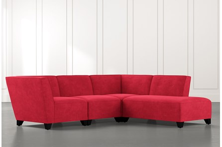 Benton II Red 4 Piece Sectional with Right Arm Facing Bumper Chaise