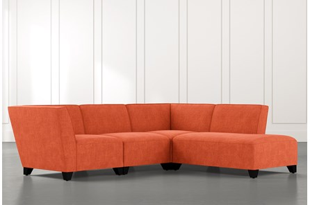 Benton II Orange 4 Piece Sectional with Right Arm Facing Bumper Chaise