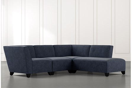 Benton II Navy Blue 4 Piece Sectional with Right Arm Facing Bumper Chaise