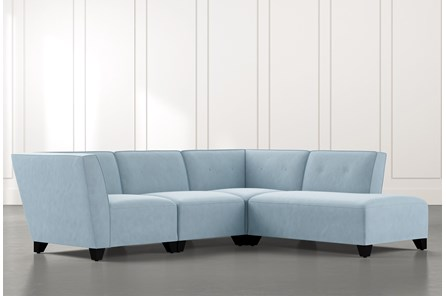 Benton II Light Blue 4 Piece Sectional with Right Arm Facing Bumper Chaise
