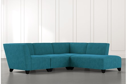 Benton II Teal 4 Piece Sectional with Right Arm Facing Bumper Chaise