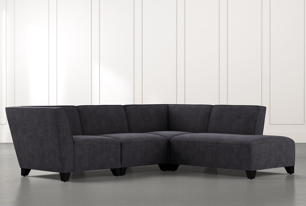 Benton II Black 4 Piece Sectional with Right Arm Facing Bumper Chaise