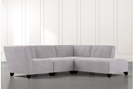 Benton II Light Grey 4 Piece Sectional with Right Arm Facing Bumper Chaise