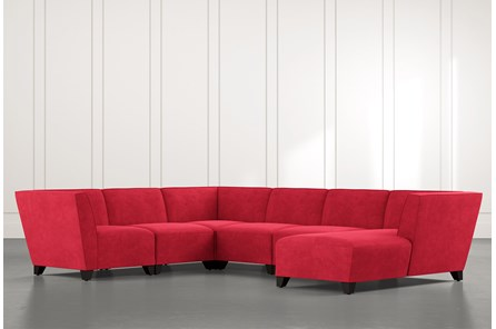 Benton II Red 6 Piece Sectional with Right Arm Facing Chaise