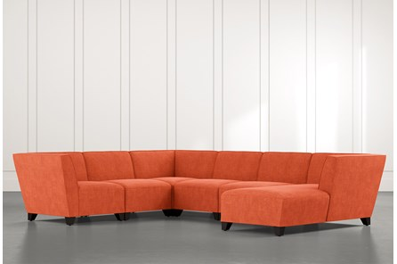 Benton II Orange 6 Piece Sectional with Right Arm Facing Chaise