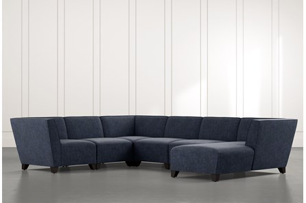 Benton II Navy Blue 6 Piece Sectional with Right Arm Facing Chaise