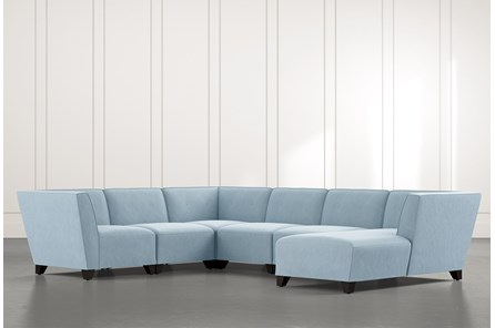 Benton II Light Blue 6 Piece Sectional with Right Arm Facing Chaise