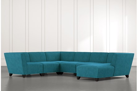 Benton II Teal 6 Piece Sectional with Right Arm Facing Chaise