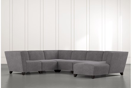 Benton II Dark Grey 6 Piece Sectional with Right Arm Facing Chaise