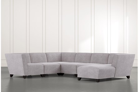 Benton II Light Grey 6 Piece Sectional with Right Arm Facing Chaise