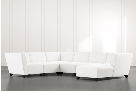 Benton II White 6 Piece Sectional with Right Arm Facing Chaise
