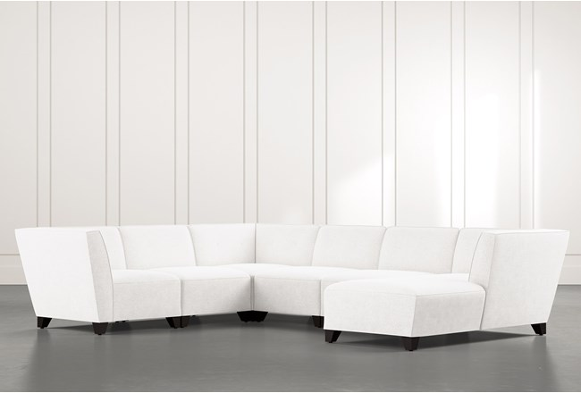 Benton II White 6 Piece Sectional with Right Arm Facing Chaise - 360
