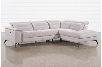 Lexi Platinum 2 Piece Power Reclining Sectional With Right Arm Facing Chaise and Usb