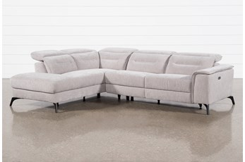 Lexi Platinum 2 Piece Power Reclining Sectional With Left Arm Facing Chaise and Usb
