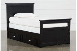 Summit Black Twin Panel Bed With Double 2-Drawer Underbed Storage