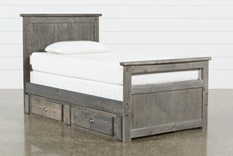 Summit Grey Twin Panel Bed With Double 2-Drawer Underbed Storage