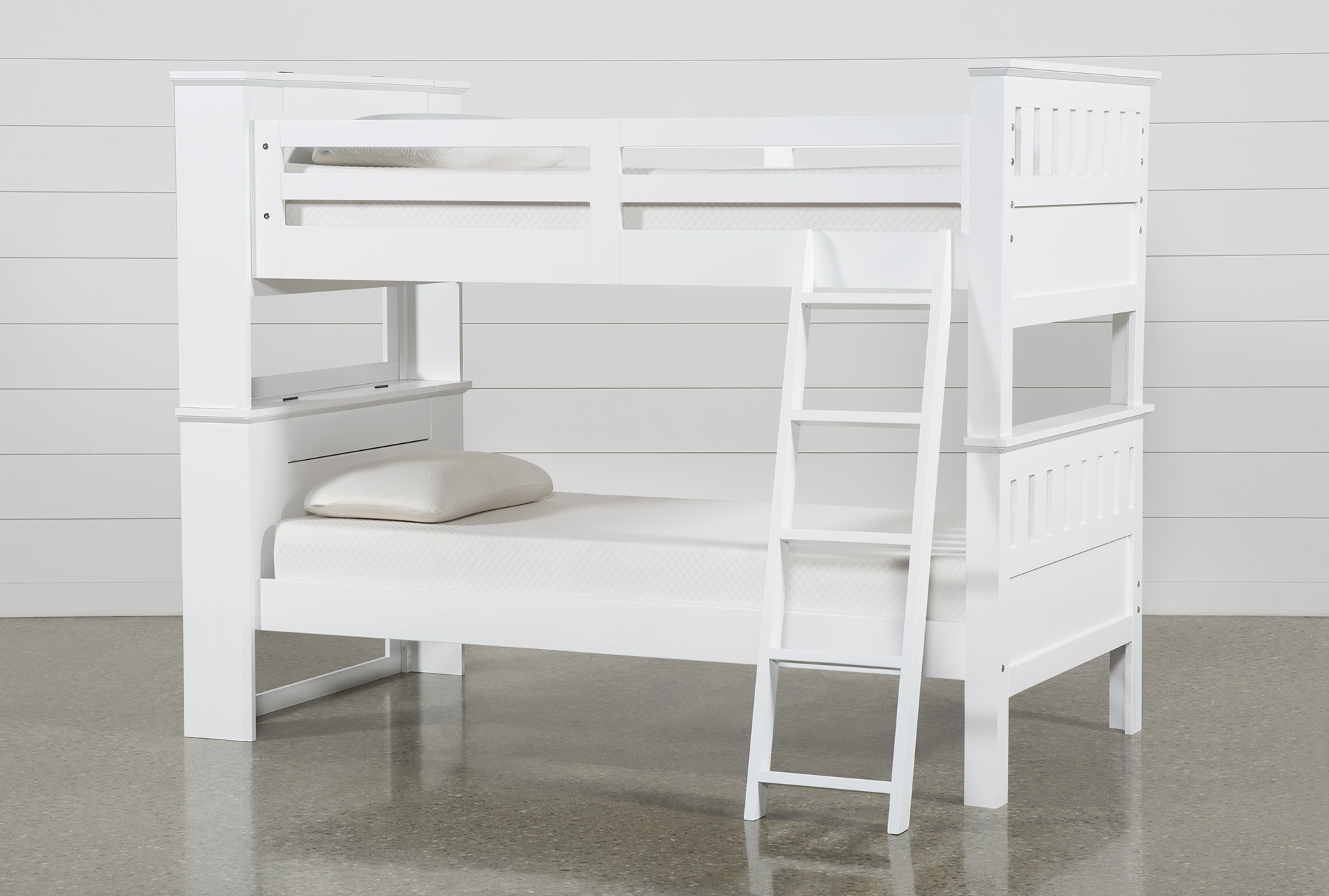 Picture of: Taylor White Twin Over Twin Bunk Bed With Usb Living Spaces