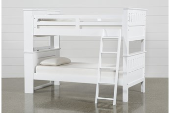 Taylor White Twin Over Twin Bunk Bed With USB