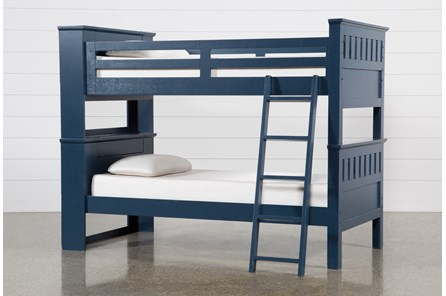 Taylor Navy Twin Over Twin Bunk Bed With USB