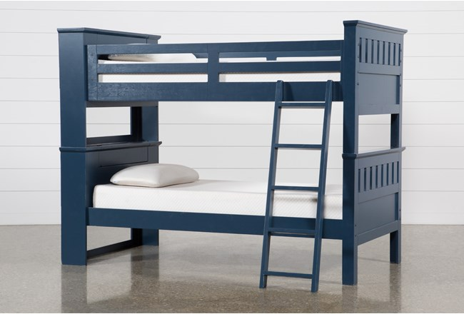 Taylor Navy Twin Over Twin Bunk Bed With USB - 360