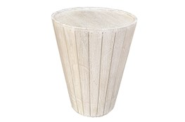 Antique White Drum End Table