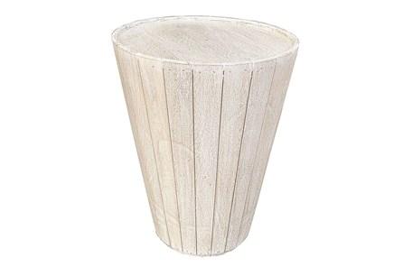 Otb Antique White Drum End Table