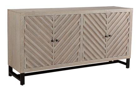 Antique White Chevron 4 Door Sideboard