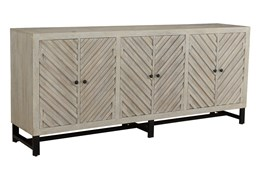 Antique White Chevron 6 Door Sideboard