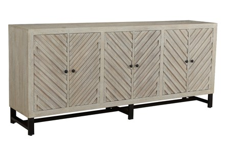 Otb Antique White Chevron 6 Door Sideboard