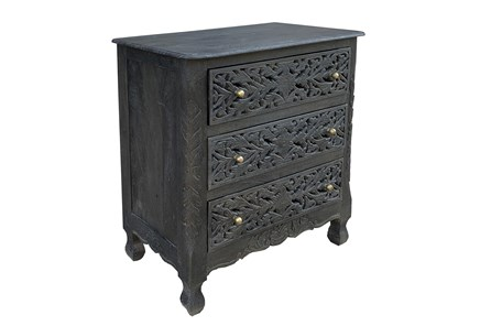 3 Drawer Carved Dark Gray Chest