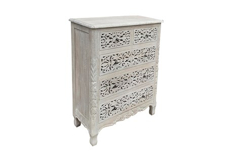 Otb 5 Drawer Carved Dark Gray Dresser