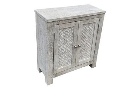 Antique White 2 Door Cut Out Cabinet