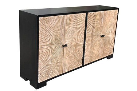 Black + Natural Wood 4 Door Sideboard