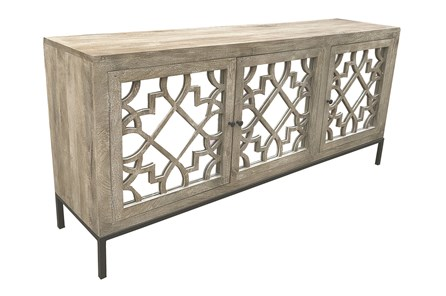Dark Taupe 3 Door Mirrored Sideboard