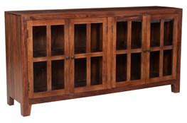 Dark Wood 4 Door Glass Sideboard