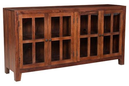 Otb Dark Wood 4 Door Glass Sideboard