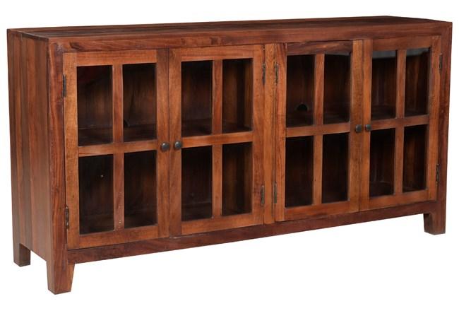 Otb Dark Wood 4 Door Glass Sideboard  - 360