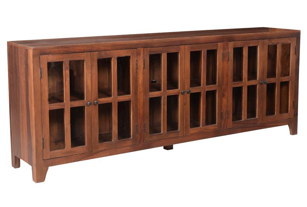 Dark Wood 6 Door Glass Sideboard