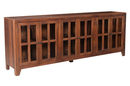 Dark Wood 6 Door Glass Sideboard