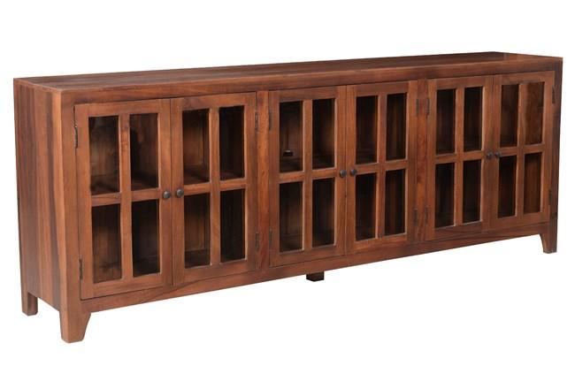 Dark Wood 6 Door Glass Sideboard - 360