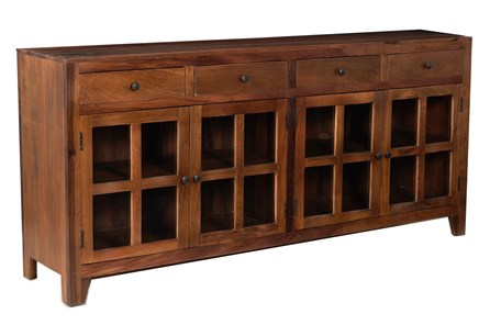 Otb Dark Wood 4 Door 4 Drawer Glass Sideboard