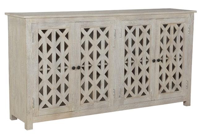 Otb Antique White Piece Front 4 Door Sideboard   - 360