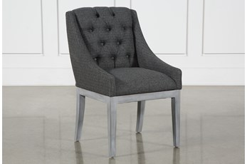 Alexa Charcoal Linen Dining Side Chair With Cement Legs