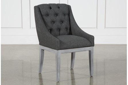 Alexa Charcoal Linen Dining Chair With Cement Legs